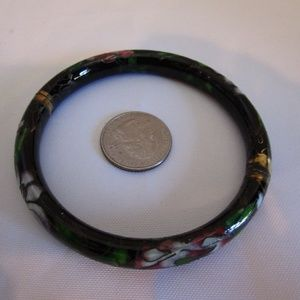 Cloisonne Enameled Vintage Bangle Hinged Bracelet